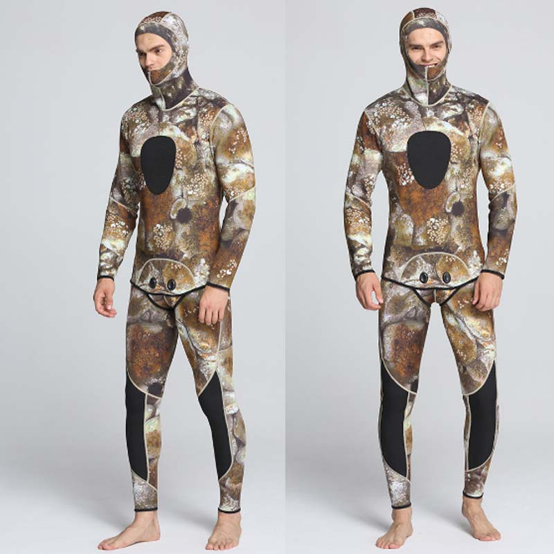 MYLEDI Camo Wetsuit Mens 3mm 2 Piece Spearfishing Suit