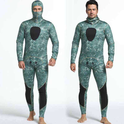 Reef Pattern Men's 3mm Two Piece Hooded Camo Wetsuit