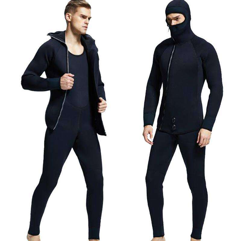 MYLEDI Men's 5MM Two Piece Hooded Front Zip Winter Diving Wetsuit