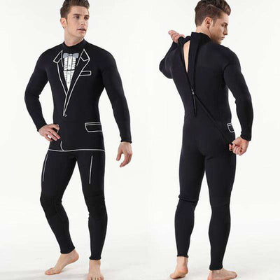 Men's Suit Pattern Back Zip One Piece 3mm Wetsuit