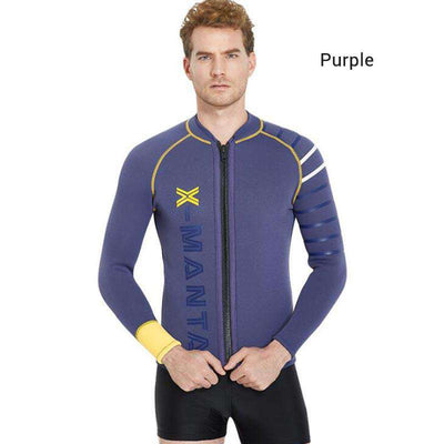 Dive & Sail Men's 3MM Wetsuit Jacket Long Sleeved Front Zip Diving Top