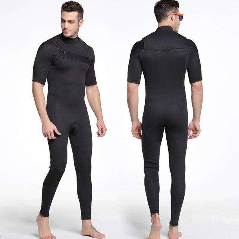 Sbart Chest Zip 3MM Short Arm Long Leg Diving Wetsuit for Men