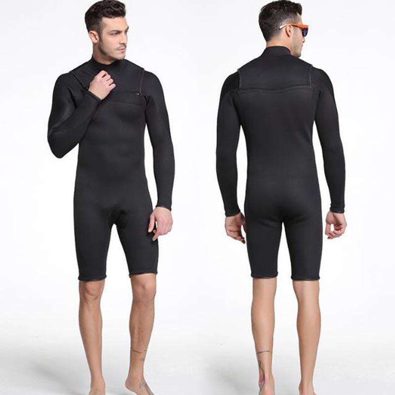 Sbart Men's 3MM Chest Zip Springsuit Long Sleeve Short Leg Wetsuit
