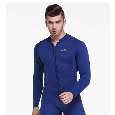Sbart Front Zip Long Sleeve 3mm Wetsuit Jacket Top for Men