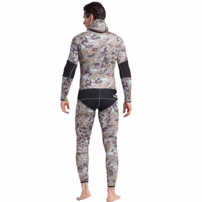 Men's Two-Piece Hooded 5MM Camo Wetsuit for Spearfishing