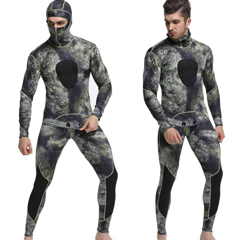 MYLEDI 1.5MM Mens 2 Piece Beavertail Reef Camo Wetsuit