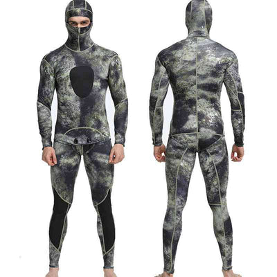 1.5MM Two Piece Hooded Spearfishing Camo Wetsuit for Men
