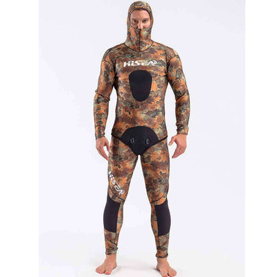 HISEA Mens 3.5mm 2-Piece Coral Camo Wetsuit Spearfishing Free Diving Suit