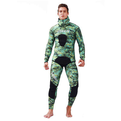 HISEA Mens 1.5mm 2 Piece Spearfishing Green Camo Wetsuit