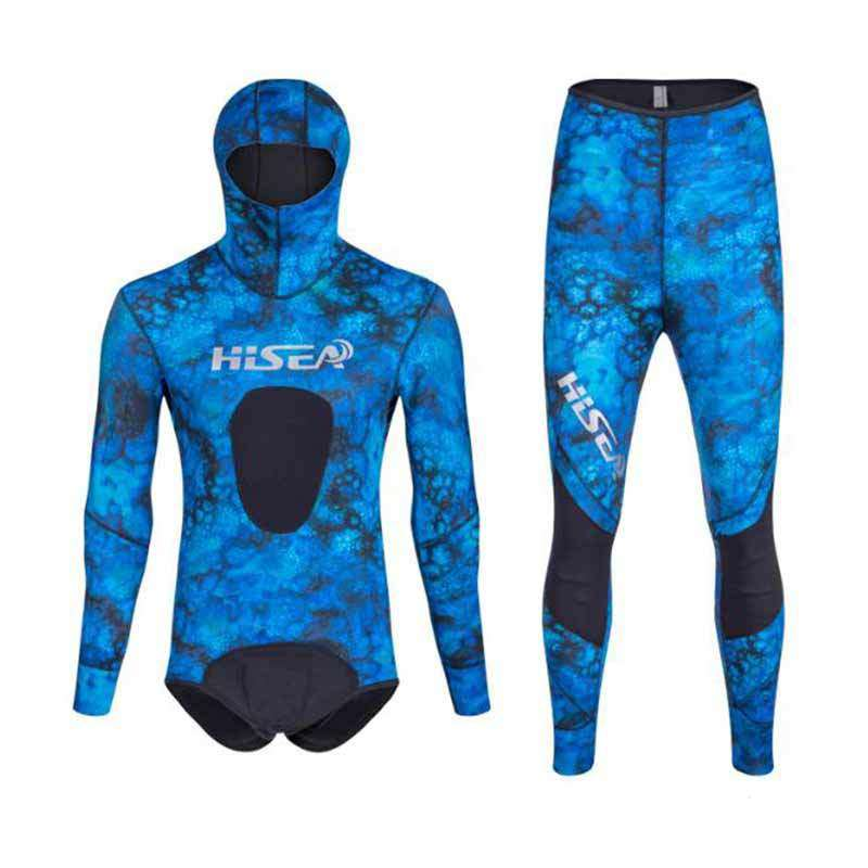HISEA Men's 1.5mm 2 Piece Spearfishing Suit Camo Wetsuit with Hood