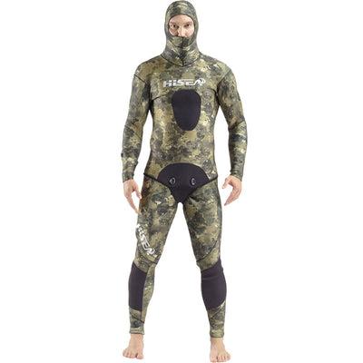 HISEA Mens 3.5mm Green Camouflage 2 Piece Wetsuit