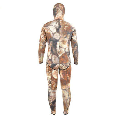 Pro Spearfishing Two Piece 5mm Diving Hooded Camo Wetsuit for Men