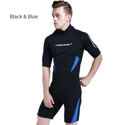 Men's Short Sleeved 3MM One Piece Shorty Diving Wetsuit