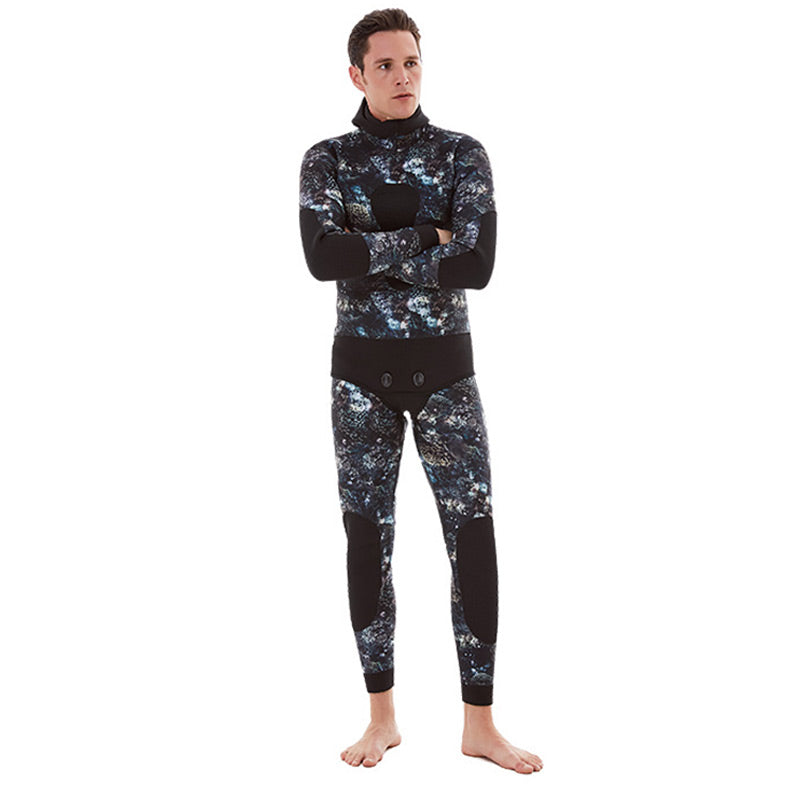 DIVESTAR 3mm Open Cell Lined Coral Camo Wetsuit