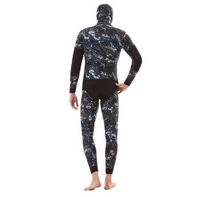 Men's 3mm Hooded Two Piece Coral Pattern Camo Wetsuit for Spearfishing