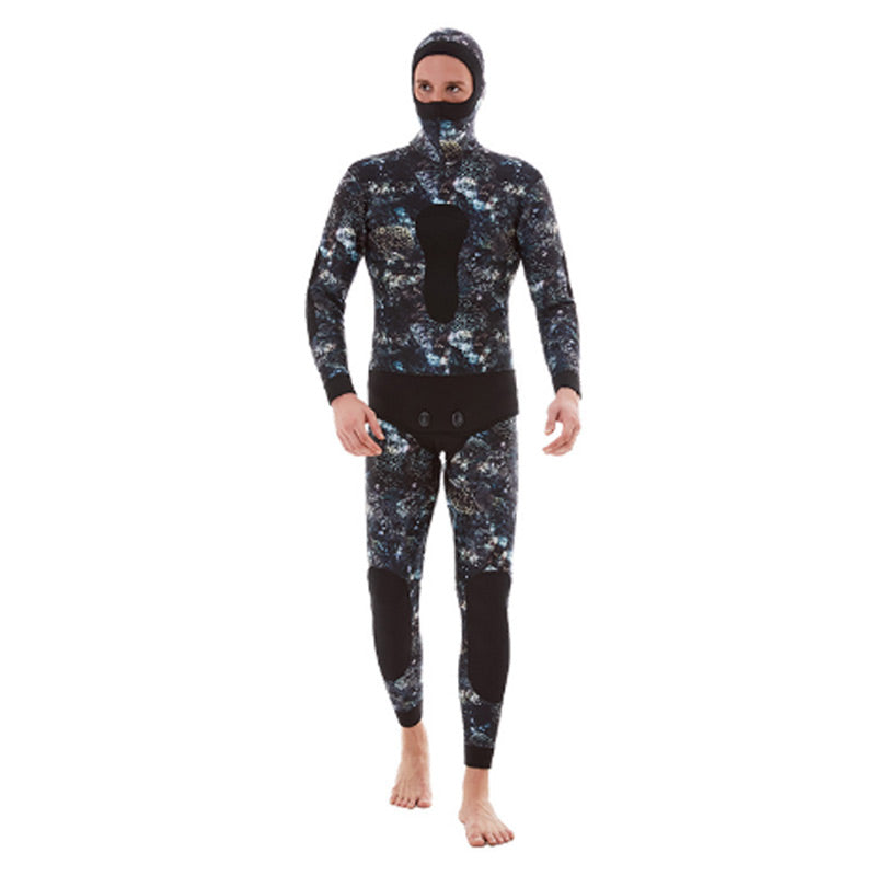 DIVESTAR Mens 7mm Coral Camo Wetsuit w/Open Cell Lining