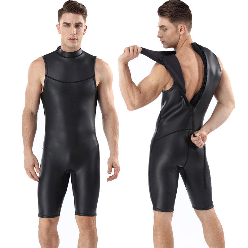 MYLEDI Men's 2MM Short Farmer John Rubber Wetsuit