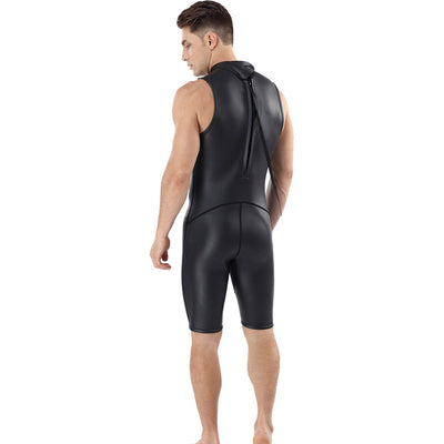 MYLEDI Men's 2MM Smooth Skin Rubber Wetsuit Short Farmer John Diving Surfing Suit