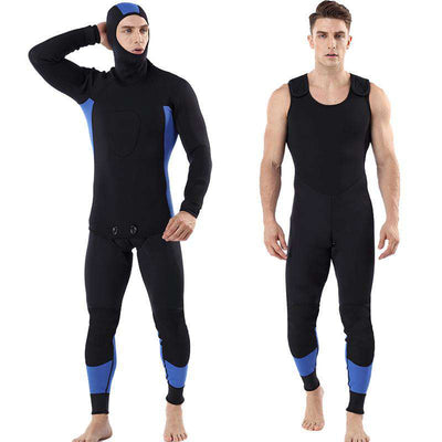 MYLEDI 3mm Hooded Mens Two Piece Plus Size Neoprene Surfing Diving Wetsuit