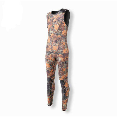 2-Piece 3mm Spearfishing Camo Wetsuit Hooded Jacket & Sleeveless Jumpsuit