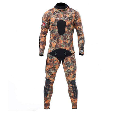 SLINX Adult Men's Thermal 2 Piece 3mm Coral Camo Wetsuit Plus Size with Hood for Spearfishing