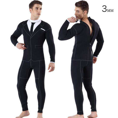 MYLEDI 3MM Cool Formal Style Wetsuit  Tuxedo Suit & Tie Print Full Freediving Surf Suit