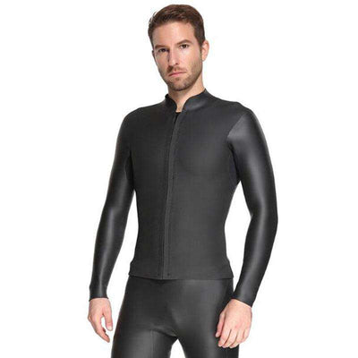 Sbart Mens 3MM Rubber Wetsuit Jacket Smooth Skin Freediving Top