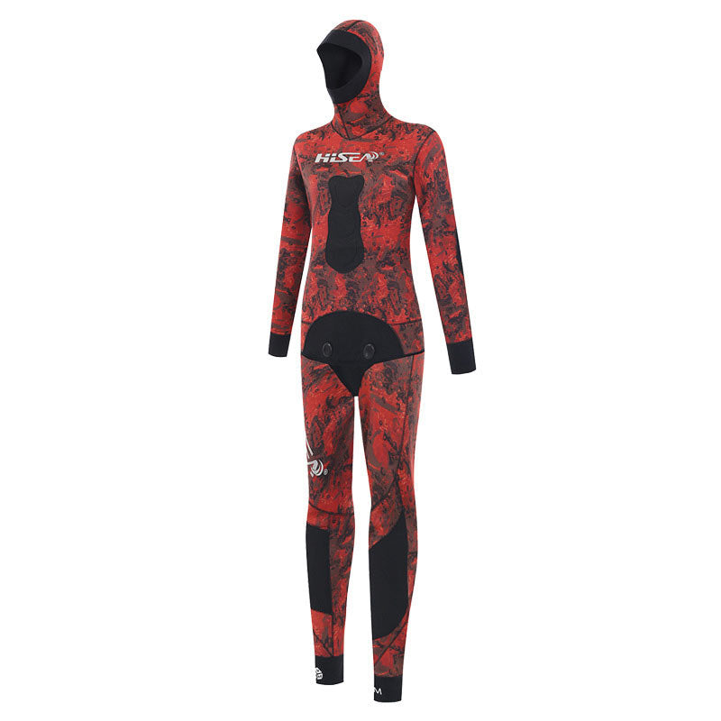 HISEA 5mm Open Cell Beavertail 2 Piece Camo Wetsuit