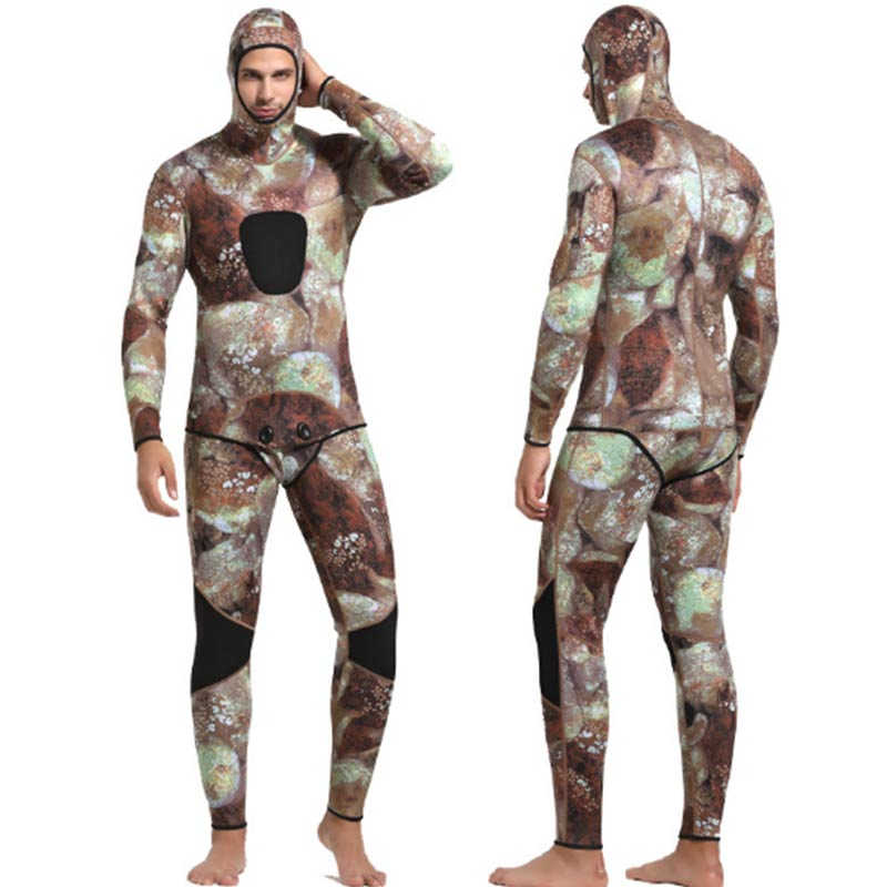Sbart 3mm Hooded Mens Brown Jellyfish Camo Wetsuit