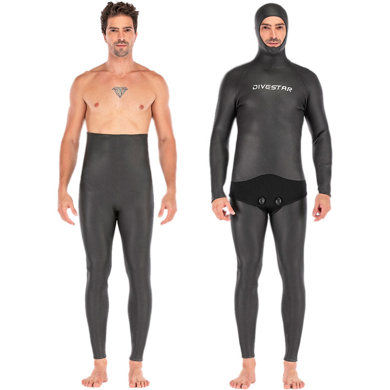 DIVESTAR 3mm Black Full Smoothskin Wetsuit with Hood