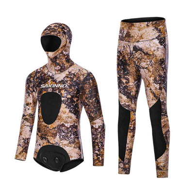 SAKINNO 3.5mm Two Piece Hooded Wetsuit - Camo/Black