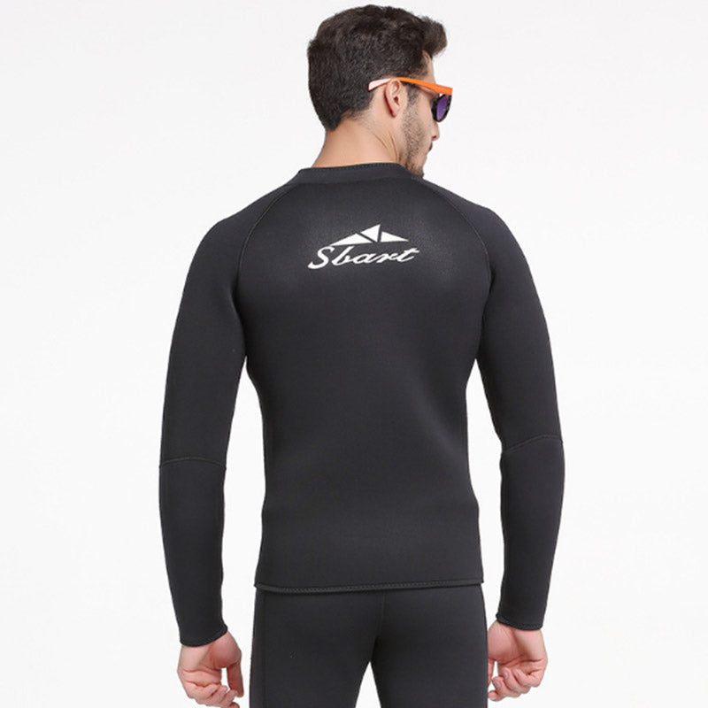 Sbart 1.5MM Mens All Black Front Zip Wetsuit Jacket