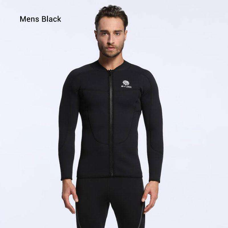 Short Sleeve Men/'s 2mm Smooth Skin Wetsuit Jacket Size: S-2XL Full Front Zip