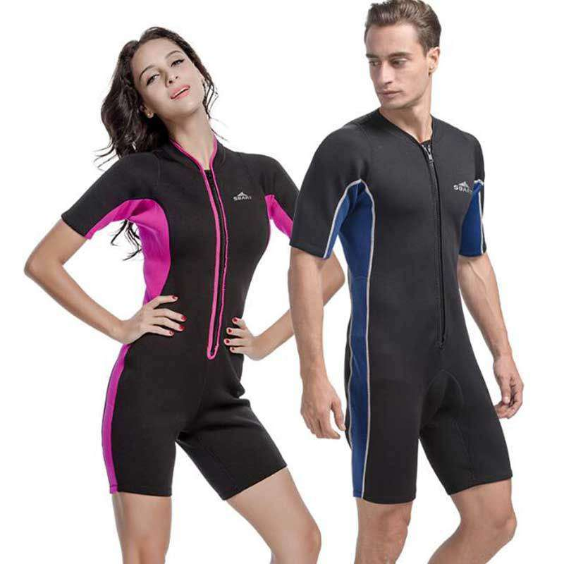 5ea8bbf0cf Sbart Front Zip 2mm One Piece Shorty Wetsuit for Surfing Free Diving  Snorkeling