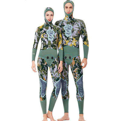 3MM Two Piece Hooded Reef Camo Wetsuit with Nylon Lining