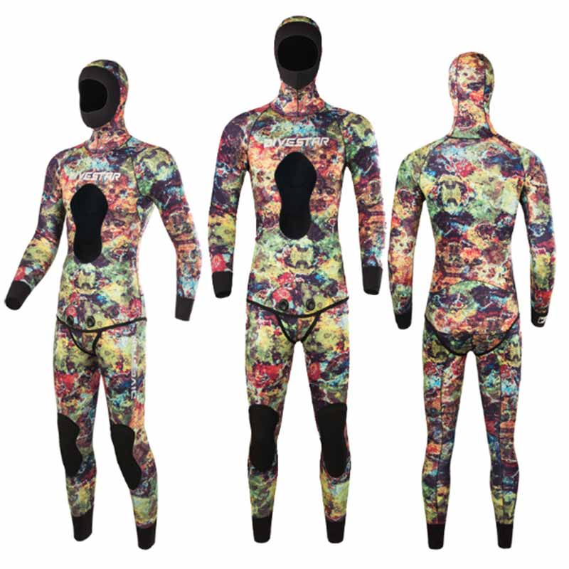 DIVESTAR 3mm Red Camo 2-Piece Open Cell Wetsuit