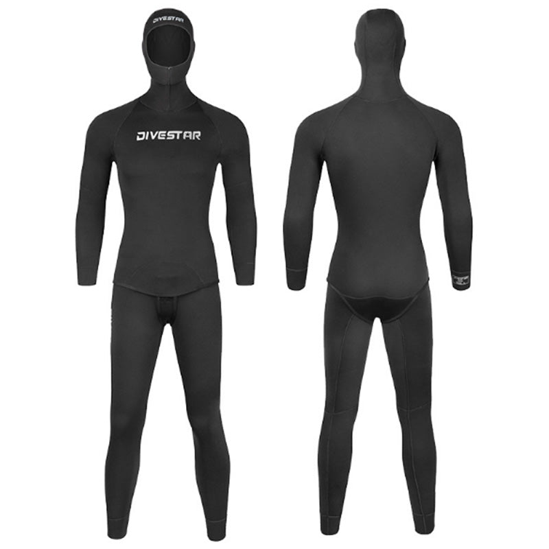 DIVESTAR 3MM Open Cell Lined 2 Piece Wetsuit with Hood