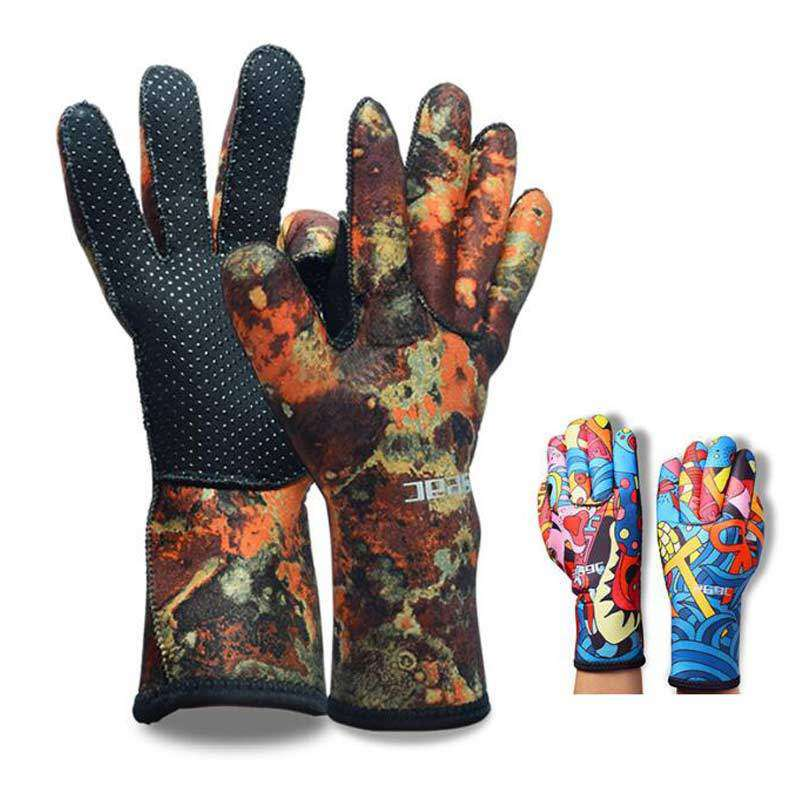 HISEA 3mm Scuba Diving Camo Gloves Warm Anti-skid for Men Women