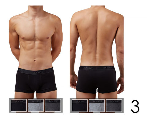 2(X)IST Cotton 3PK No-Show Trunk 3102033303 - CITYBOYZ★USA