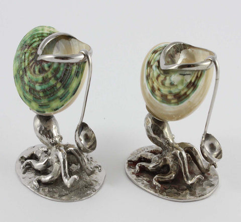 Sea Green and Pearl Octopus Salt and Pepper Pots