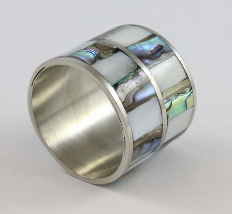 Chequered Pearl and Abalone Napkin Rings