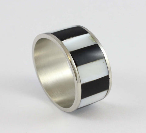 black and white striped narrow napkin rings