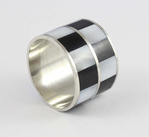Monochrome Chequered Napkin Rings (Pack of 6) - Cascara Interiors