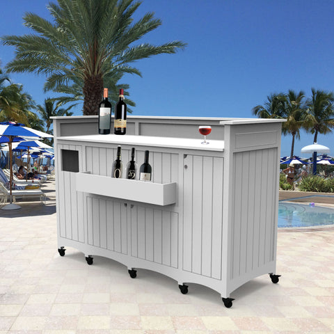 signature series outdoor portable bar in white