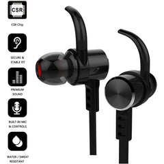 Laud Sports Wireless Headphones, Sweat proof In-Ear Earphones (Black)