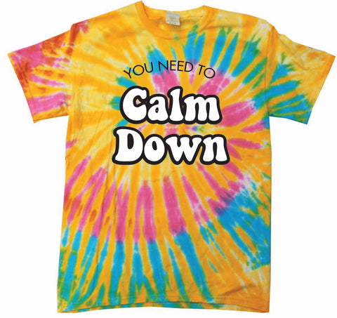 You Need To Calm Down Unisex Tee Marble Tie Dye 100% Cotton