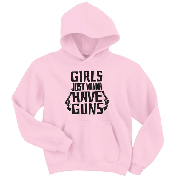 Girls Just Wanna Have Guns Baby Pink Gildan Unisex Hoodie Sizes up to 5 xl, Pistol, Hunting, Handgun Hoodie
