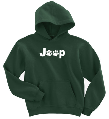 Jeep Paw Forest Green Hoodie for Jeepers, Animal Lovers