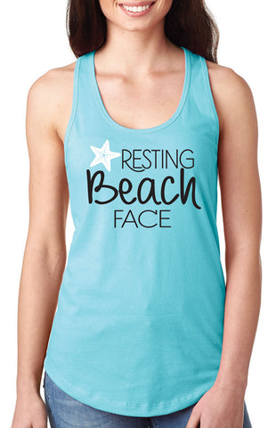 Resting Beach Face Racerback Tank top, Beach coverup, beach shirt, beach tank