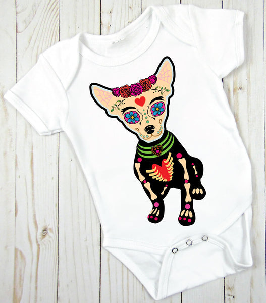 Sugar Skull Chihuahua Bodysuit, Sugar Skull, Halloween, Day of the Dead Infant Creeper Bodysuit